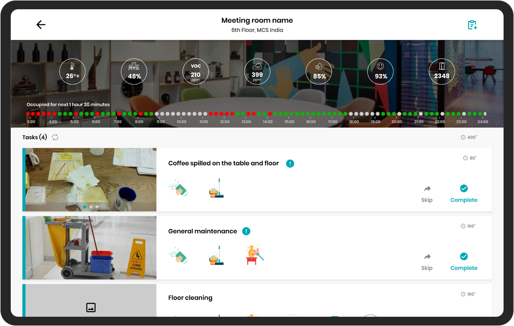 Work Assistant service app (Spacewell smart building platform)
