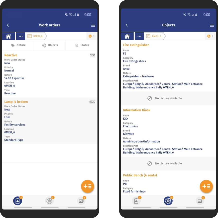 Work orders and objects screenshots on mobile