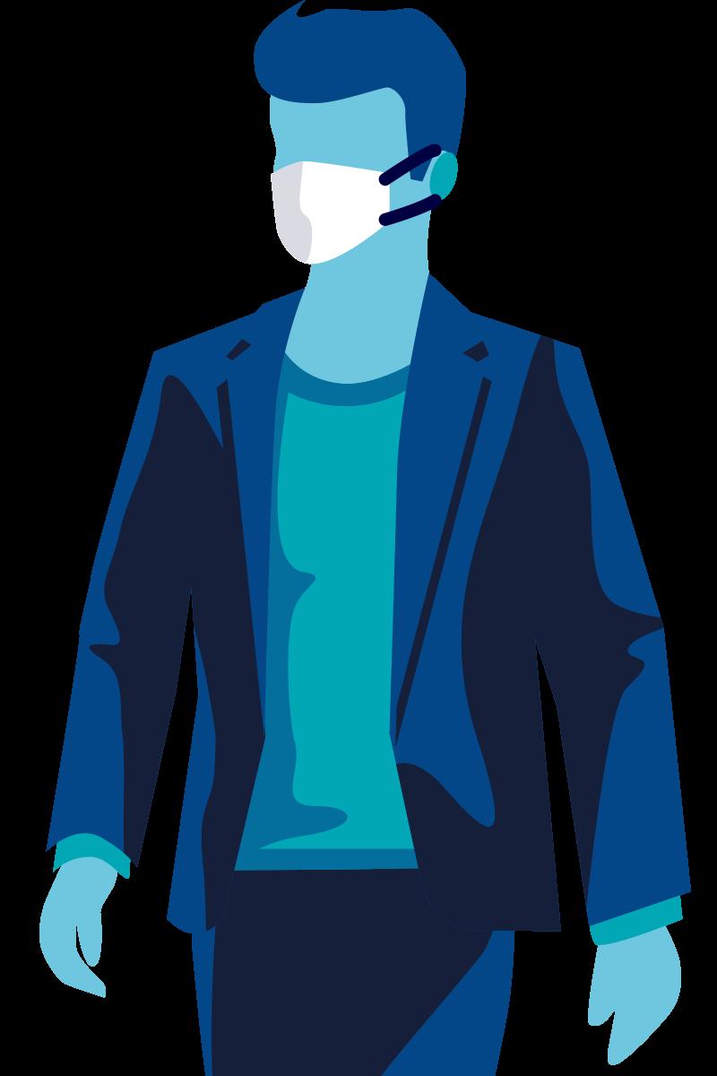 Afbeelding van een man met een mondmasker