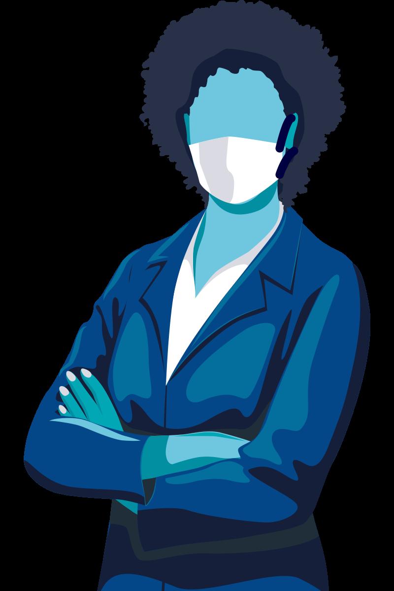 Afbeelding van een vrouw met een mondmasker