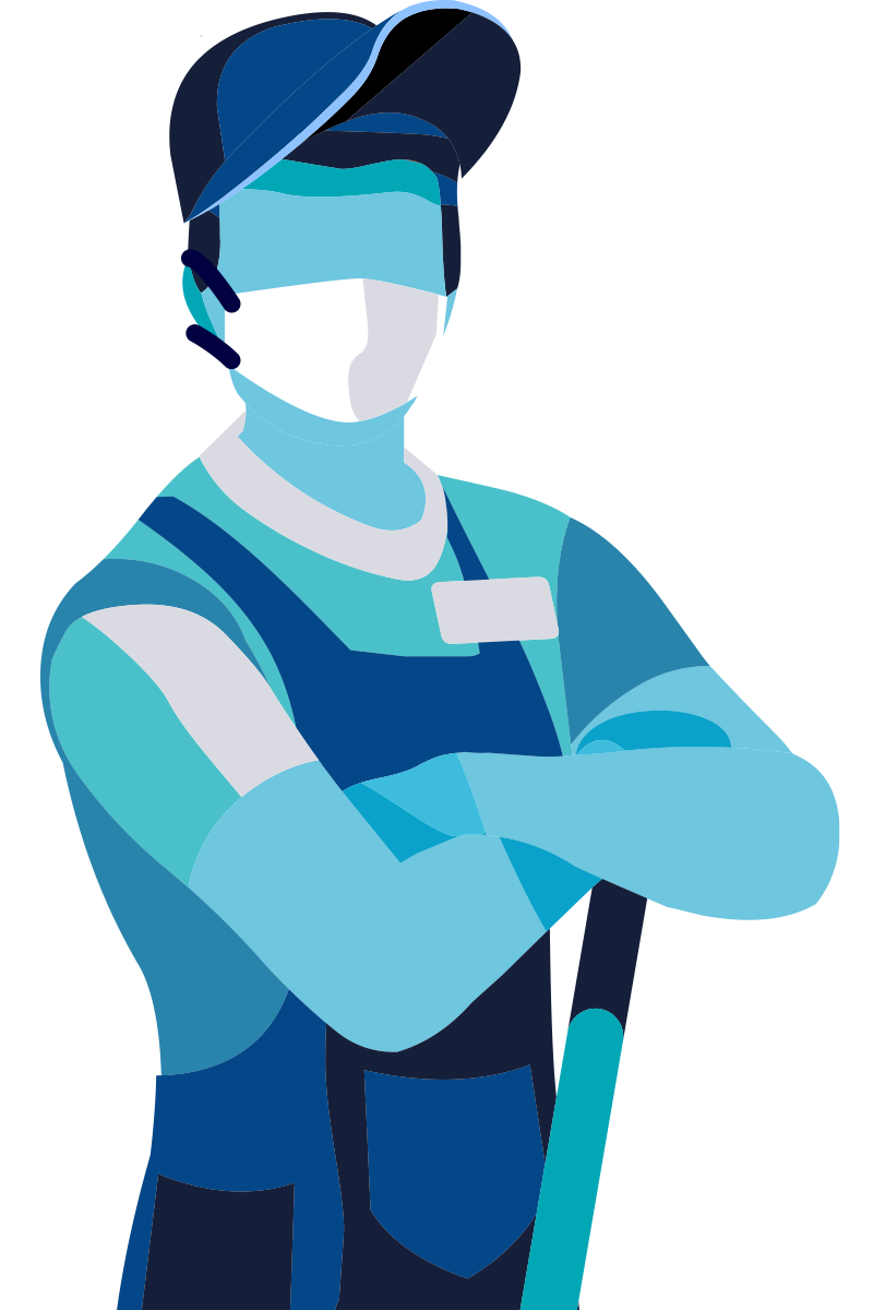 Graphic of man wearing a medical mask