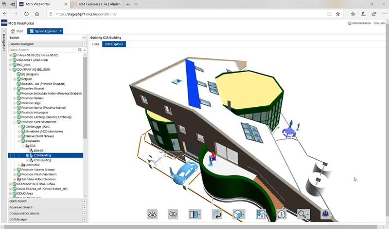 Capture d'écran modèle de bâtiment C3A dans le logiciel de GMAO de Spacewell