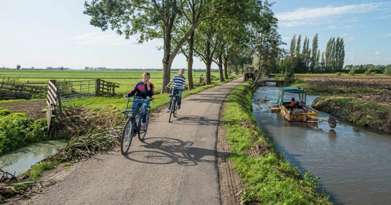 Landscape with river and people riding bikes