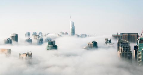 Buildings in clouds